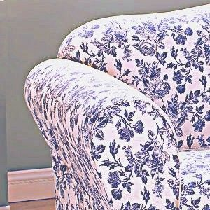 Sure Fit Shabby Cottage Toile Navy Blue Floral Sofa Slipcover