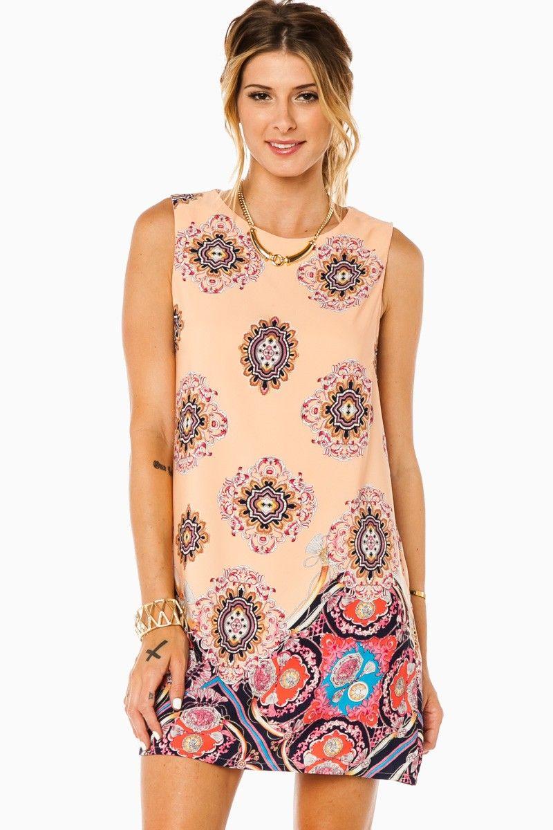 Fernanda Tank Shift Dress in Peach / ShopSosie #bold #print #shift #dress #shopsosie #sosie