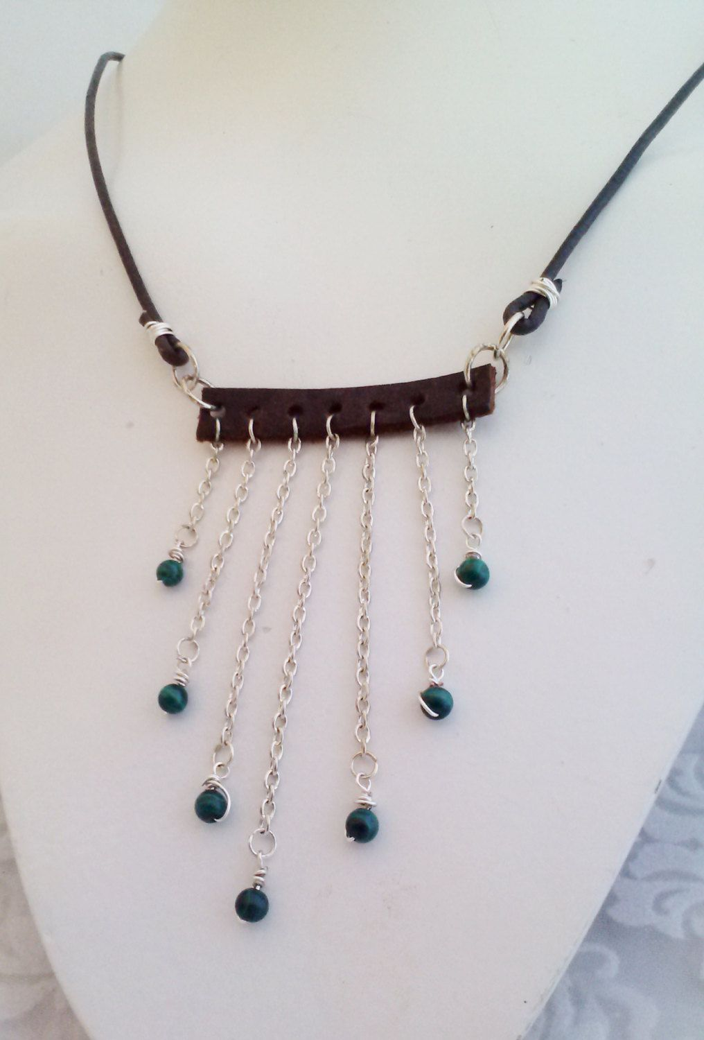 Malachite Bohemian Leather & Silver Bib Tassel Necklace - Wire Wrapped - Necklace Set - Boho Chic - pinned by pin4etsy.com