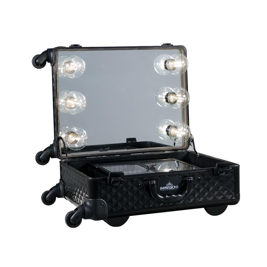 Vanity Suitcase With Lights Slaycase Xl Vanity Travel Train Case In Black Studded  Train Case
