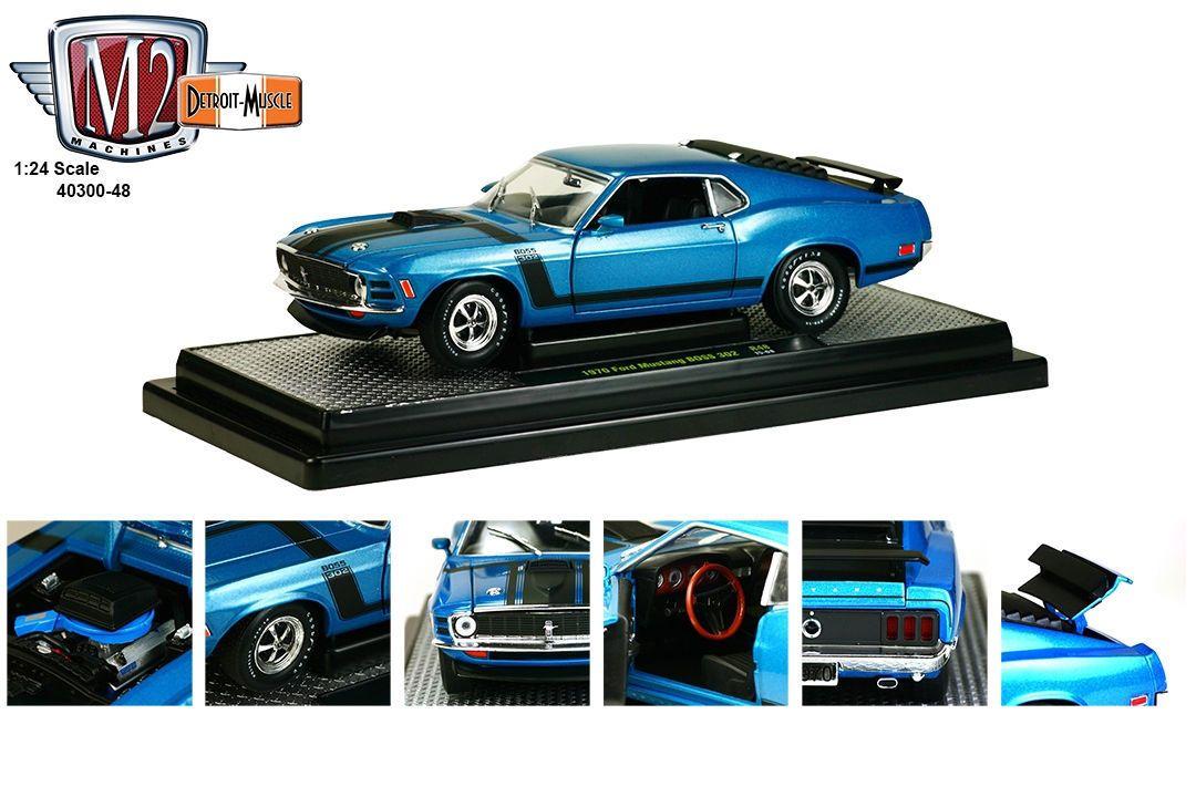 M2 Machines 1 24 Scale 1970 Ford Mustang Boss 302 Dark Aqua Metallic With Black Stripes Diecast Car M Ford Mustang Boss 1970 Ford Mustang Ford Mustang Boss 302