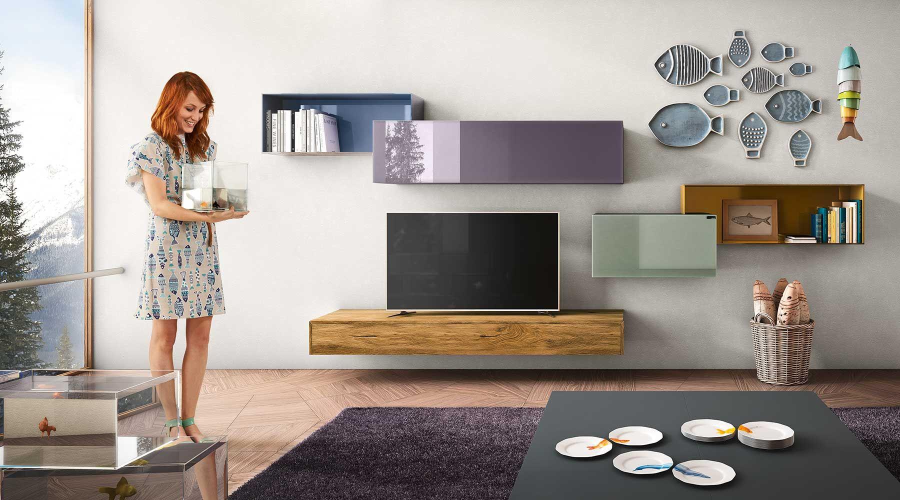 Armoire Color R Avec Meuble Pour La T L Vision Meubles  # Meuble Tv Avec Etagere