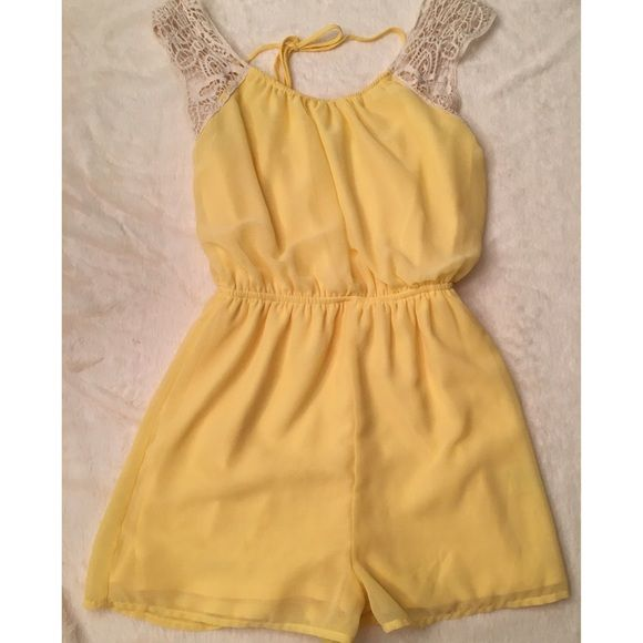 ☀️ Sunny Yellow Chiffon lined Crocket Romper Hardly worn perfect condition, adorable romper, perfect for dates & girls night out, or a day at the beach  cute with flats or booties.  BUNDLE for SAVINGS $$$ Charlotte Russe Pants Jumpsuits & Rompers