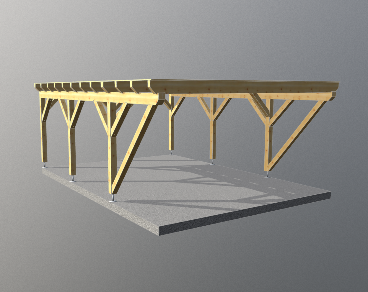 Holz carport flachdach 5m x 6m, carports aus polen ...