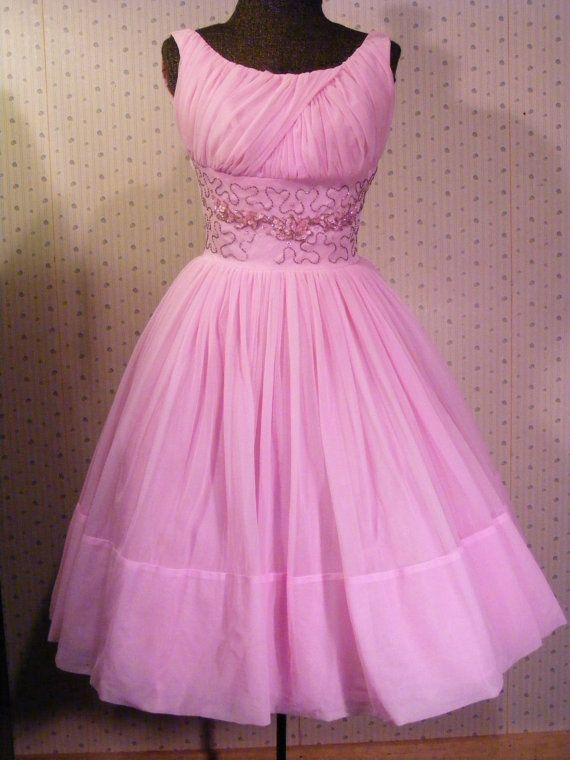 Vintage 1960 Cocktail Dress Pink Nylon Full Skirt Sequined Bodice ...