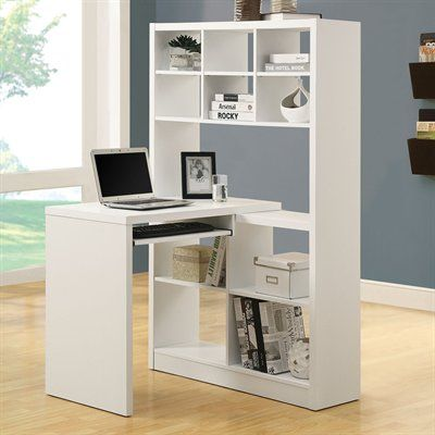 Monarch Specialties I 702 Left Or Right Side Shelf Desk Desk Home Office Design White Desk With Bookcase White Contemporary Desk