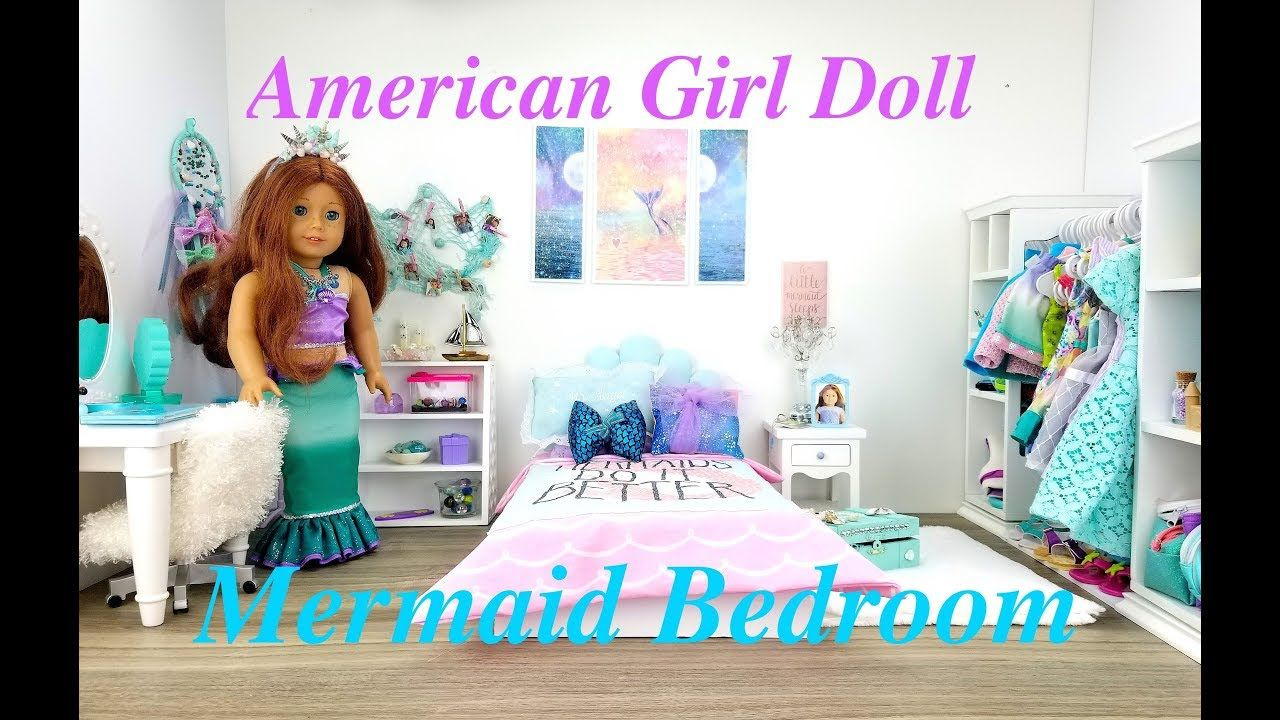 american girl doll mermaid bedroom set up  youtube with