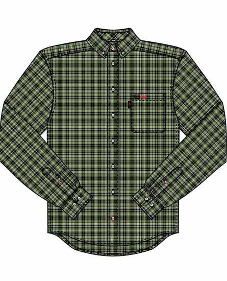 40c4980c6c61 Cinch Jeans builds their FR (Flame-Resistant) clothing line with this 100%  cotton twill olive green and black plaid shirt. This long-sleeved shirt  features ...