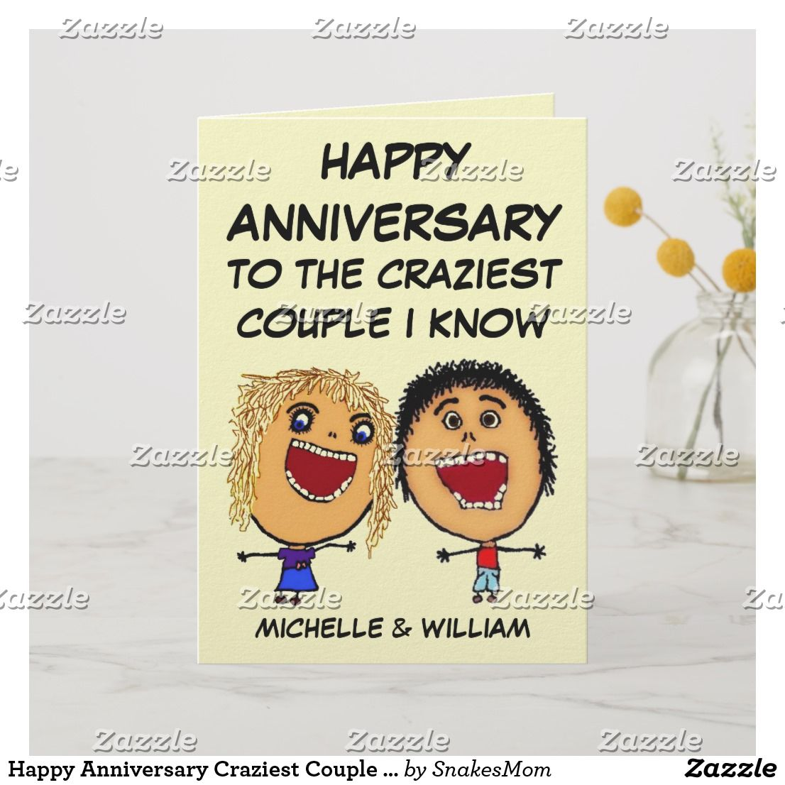 Happy Anniversary Craziest Couple I Know Card Zazzle Com Anniversary Cards For Husband Anniversary Cards For Him Personalized Anniversary Cards