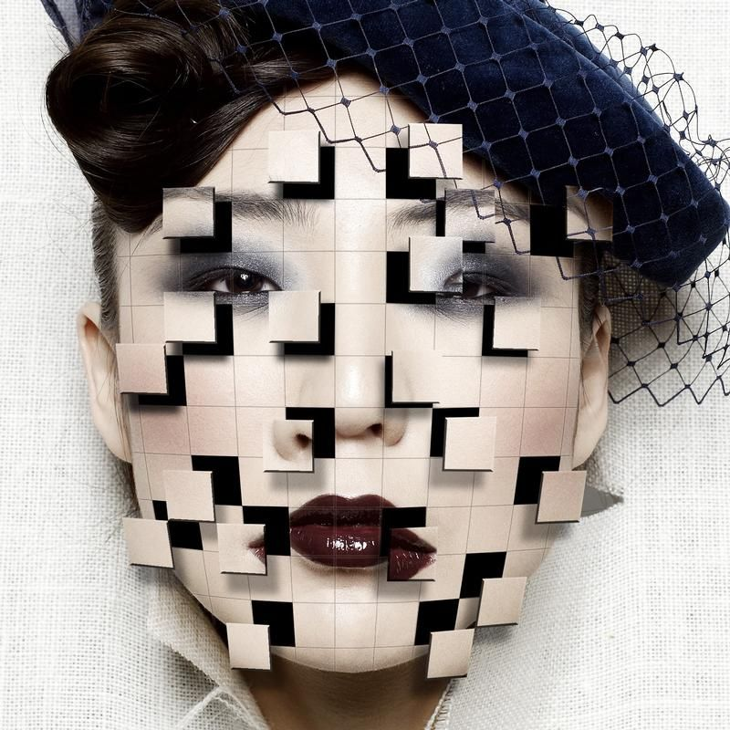 Create a futuristic image by making sections of face shatter outwards