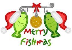 Merry Fishmas Applique - 3 Sizes! | Christmas Applique Machine Embroidery Designs | Machine Embroidery Designs | SWAKembroidery.com