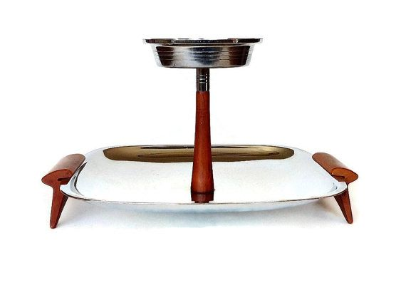 Glo Hill Tiered Tray, Mid Century Chrome, Bakelite Server on Etsy, $33.06
