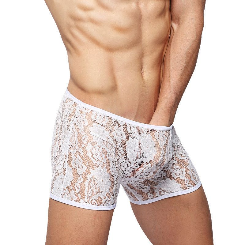 Sexy Boxers Underwear Men Lace See Through Transparent -7825