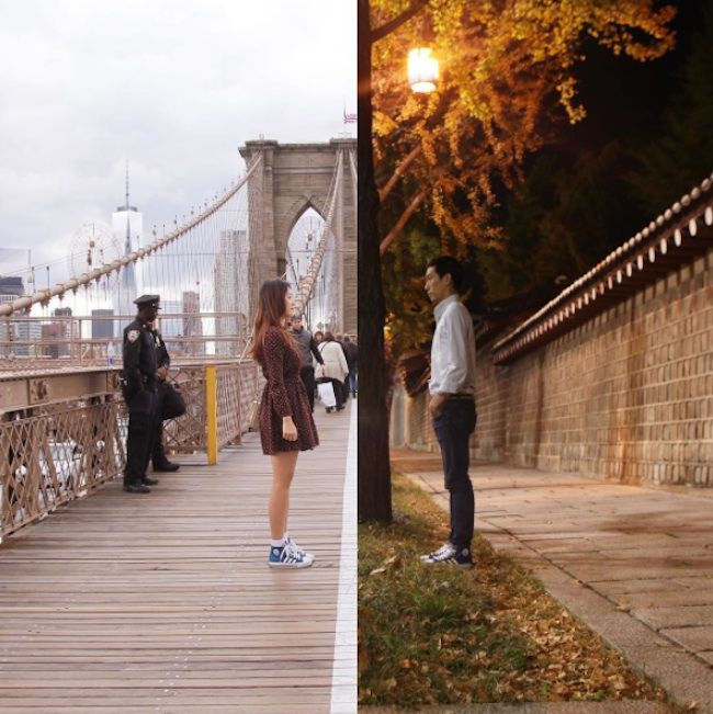 """""""Half & Half"""" – A Couple from NYC and Seoul Illustrates its long Distance Relationship in Pictures Of Their Cities"""
