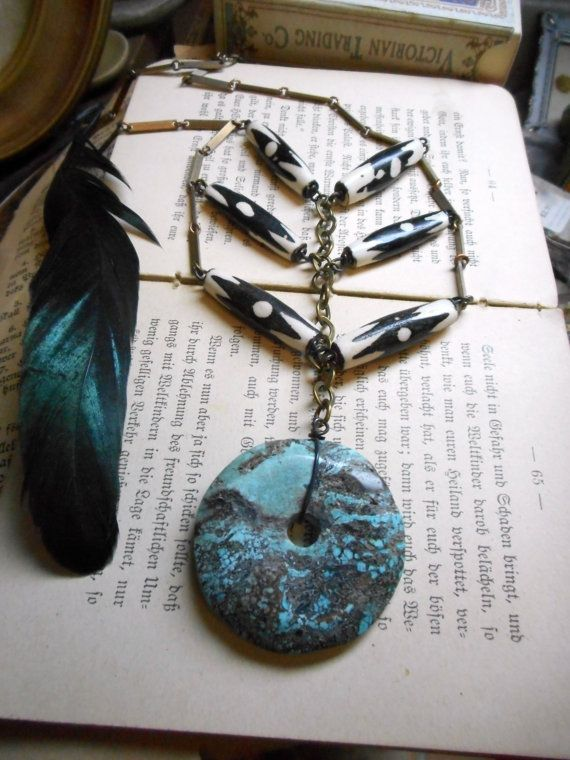 Chevron, Horn Bone and Turquoise Washer Breastplate Necklace -- The Keening of Bean-s�dhe (Washer Woman Banshee of the Heathen Tribe)