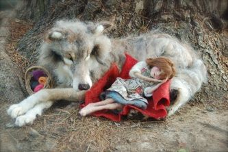 Stunning Wolf And Red Riding Hood By Sarafina Fiber Art She Is