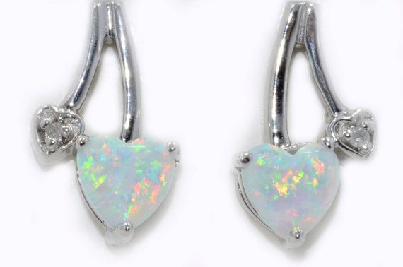 1 Carat Opal Heart Diamond Stud Earrings by ElizabethJewelryInc, $34.99