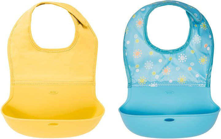 Pink//Teal OXO Tot 2-Piece Waterproof Silicone Roll Up Bib with Comfort-Fit Fabric Neck