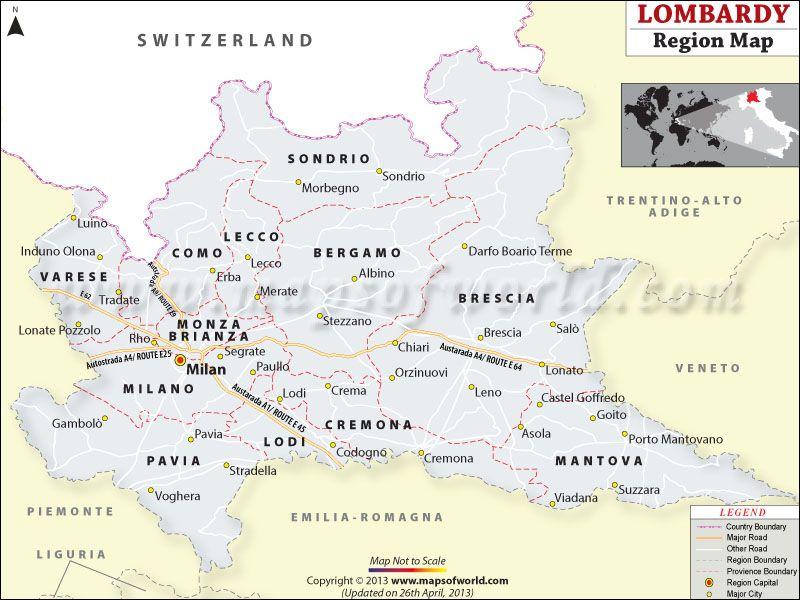 Lombardy Region Map Italy Maps Of World Pinterest: Italy Capital Map At Slyspyder.com