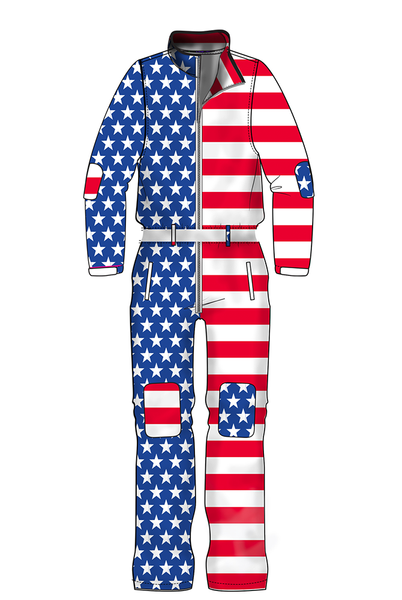 1eca9fe6f68 Pre-order the Paul Revere American Flag Ski Onesie from Shinesty.com. The  only ski suit you ll ever need.