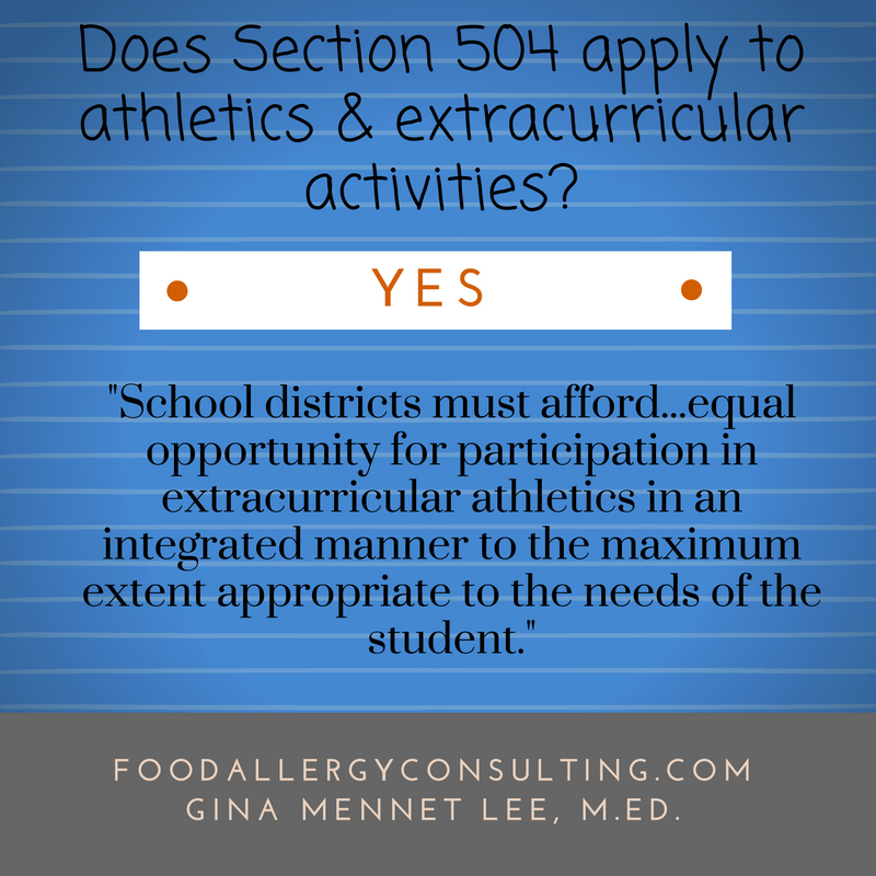 Food Allergy as a disability and Section 504: This is one of