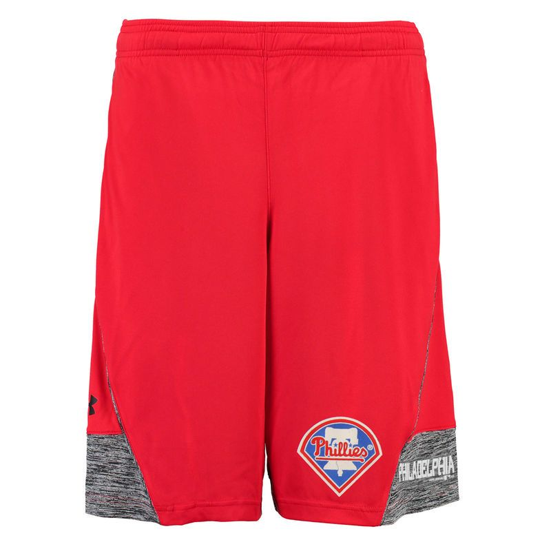 Philadelphia Phillies Under Armour Performance Loose Fit Tech Shorts - Red
