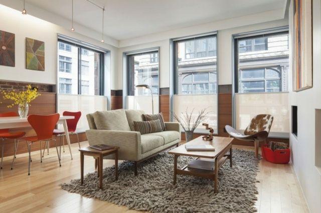 Wohnzimmer einrichten orange Stühle Holz Tisch   Zukünftige Projekte ...