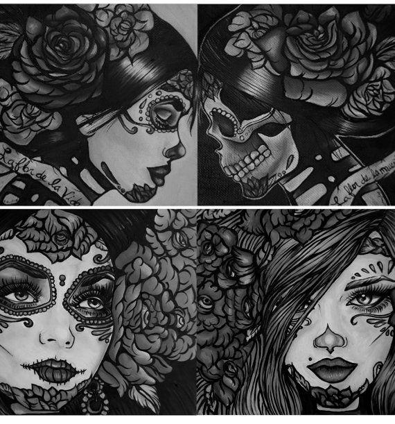 Day of the Dead Tattoo Art Flash Home Decor SET of 4 PRINTS  rockabilly lowbrow dia de los muertos skull gothic art