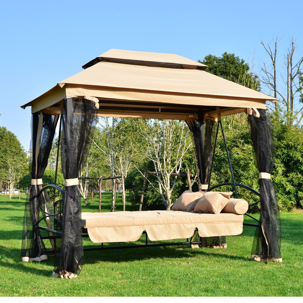 Outdoor Swing 3 Person Patio Daybed Canopy Garden Gazebo Mesh Screen Awning Sofa