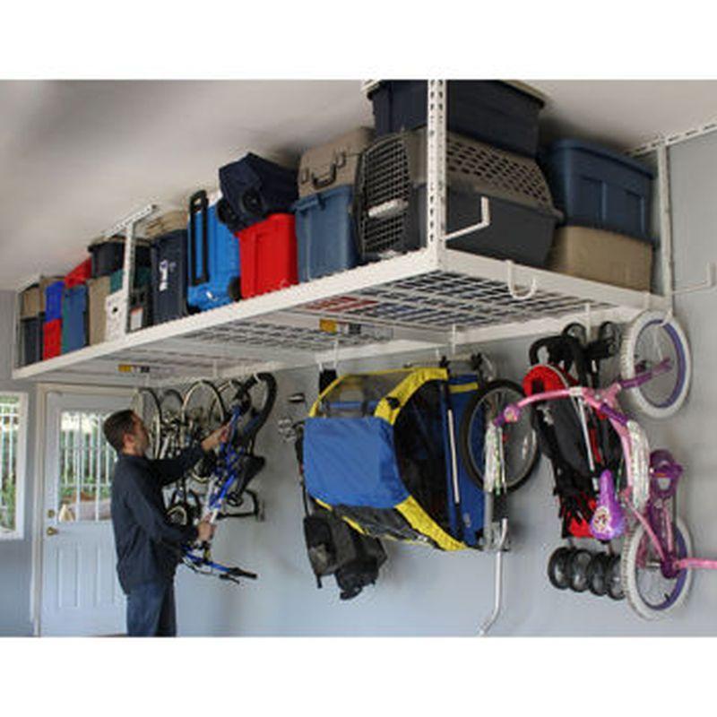 Garage ceiling storage the premier overhead garage for Elevated garage storage