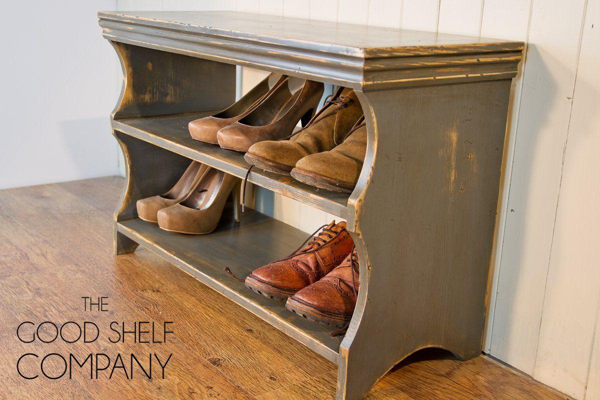 Bon Shoe Storage Cabinet, Rack, Bench, Stool   Pine (Vintage Grey):  Amazon.co.uk: Kitchen U0026 Home