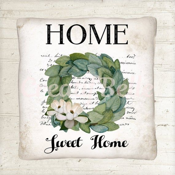 Photo of Wood Background Plus Transparent Background, Home Sweet Home , Magnolia Wreath, Instant Digital Download, Printable Graphic 1500
