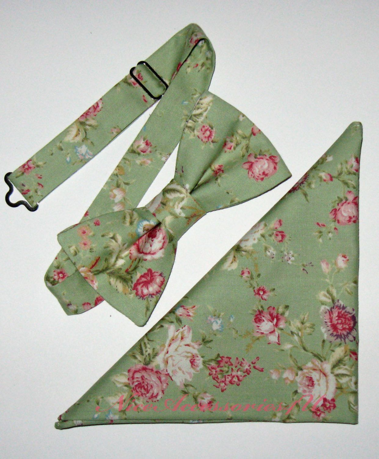 Sage green men's floral bow tie. Green and pink wedding