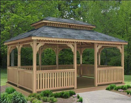 16 X 16 Cedar Rectangular Double Roof Gazebo By Fifthroom 11199 00 Gazebo Construction Rectangular Gazebo Patio Gazebo
