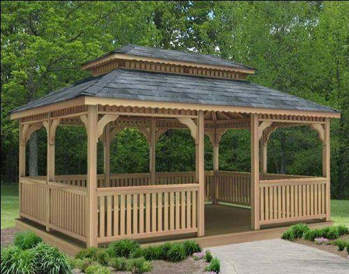 10 X 10 Cedar Rectangular Double Roof Gazebo By Fifthroom