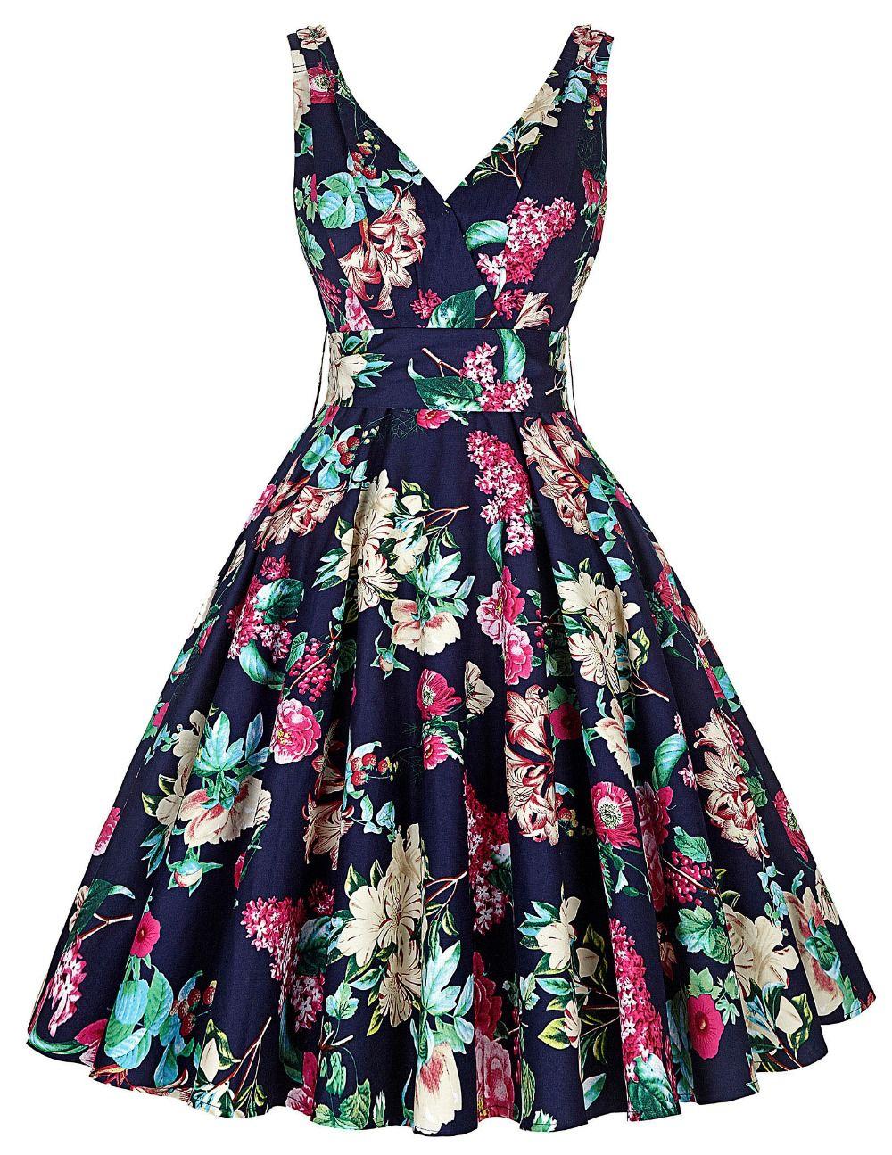 women dress summer style 2016 casual retro vintage 1950s 60s big
