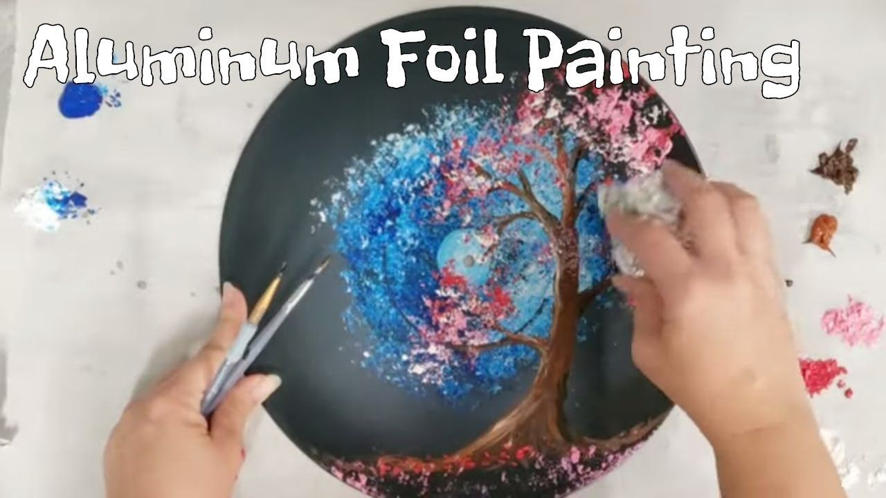 Aluminum Foil Acrylic Painting Cherry Blossom Tree On A Vinyl Record Beautiful You Are So Talented Knowl Blossom Trees Cherry Blossom Tree Cherry Blossom