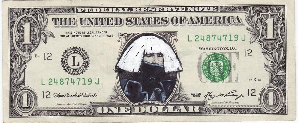 Lady Gaga Rocking A Dollar Bill Money Cash Dollar Bill One Dollar Bill