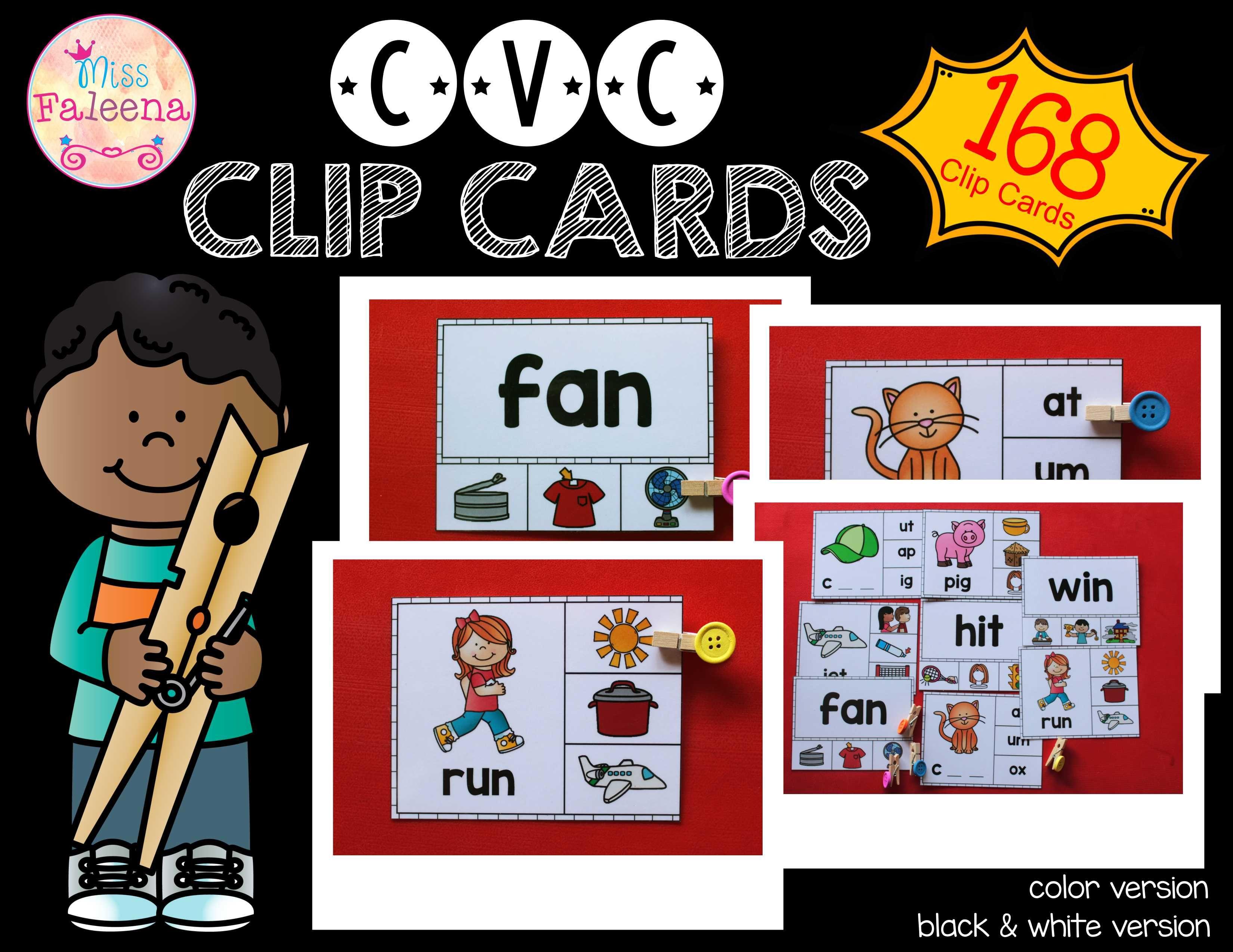 Cvc And Rhyming Clip Cards