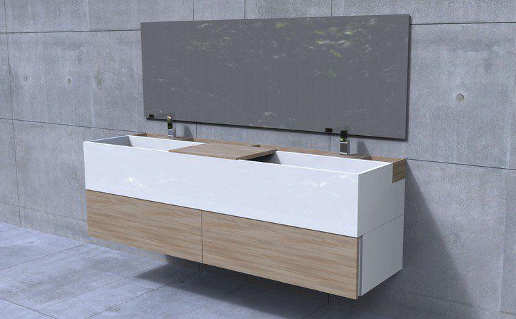 meuble salle de bain double vasque blanc et bois