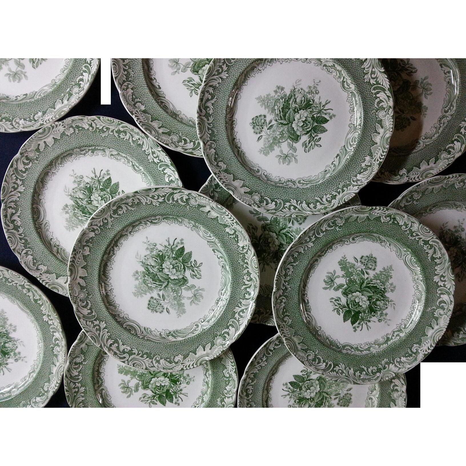Copeland Garrett Late Spode Green Transfer Printed Set Of 12 Plates Spode Green Pottery Transferware