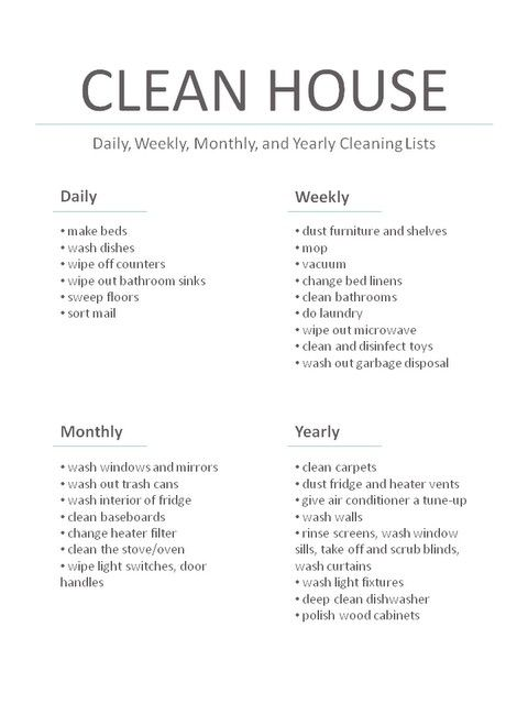 daily weekly monthly yearly house cleaning task lists wifey