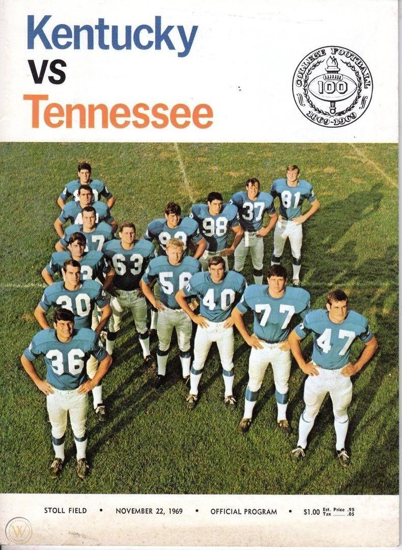 1969 Kentucky vs Tennessee Football Program November 22