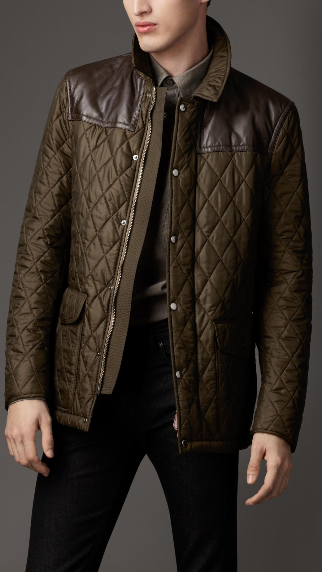 s quilt bikers leather burberry pin panel jackets quilted jacket men bomber
