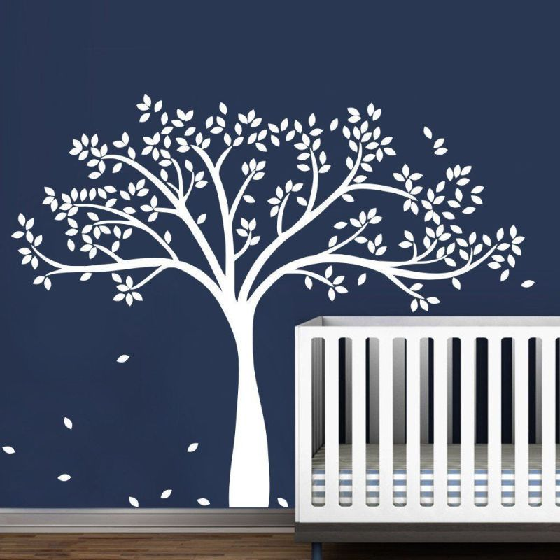Wall Decal Vinyl Sticker Large White Tree Custom Any Color For Kids Baby Bedroom Art Decoration Nursery Diy Poster Mural Y 932 Pixdora Tree Wall Decal Nursery Wall Decals Nursery Wall
