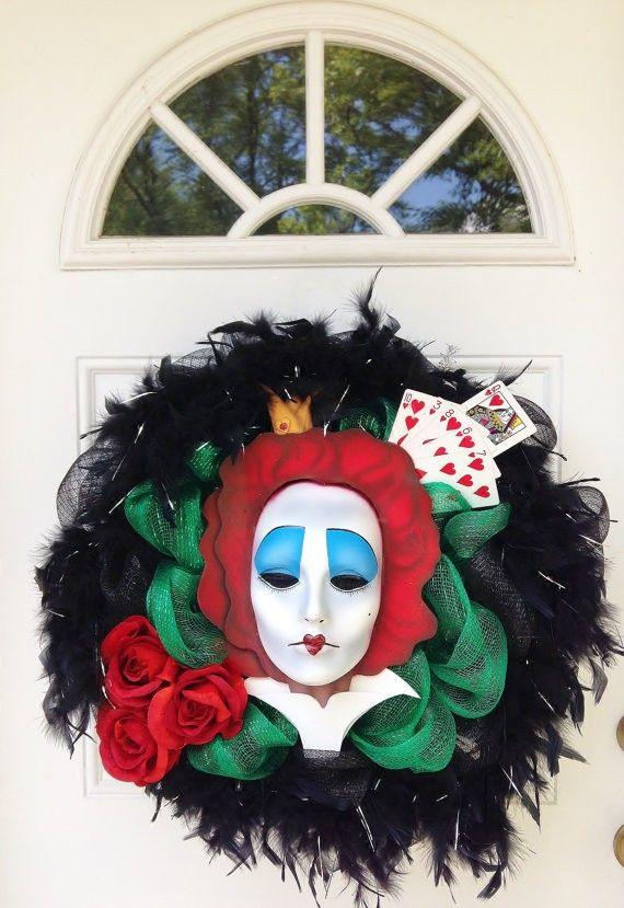 2014 halloween mesh wreath queen of hearts tim burton queen wreath