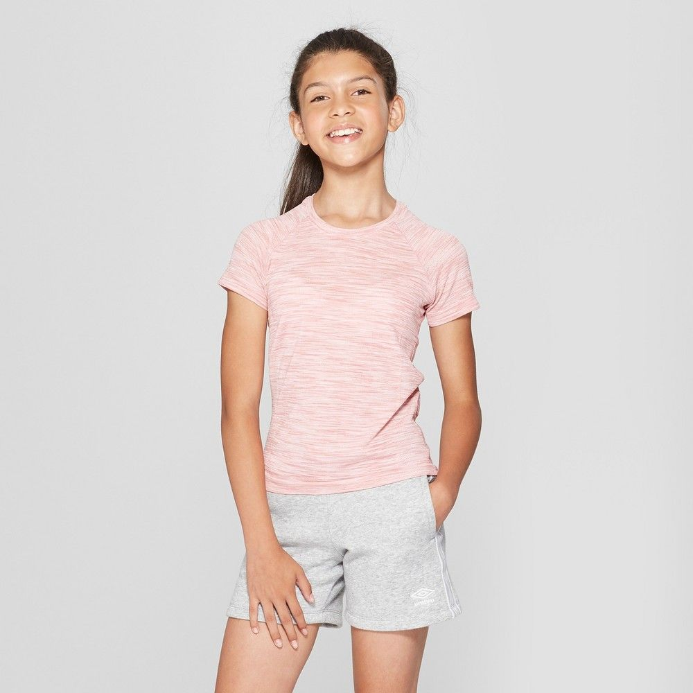 20d722b1c5d Umbro Girls  Short Sleeve Performance T-Shirt - Light Pink Heather ...