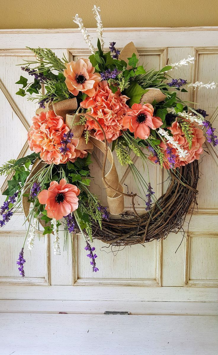 Front Door Wreath, Hydrangea, Wreath   Wreath Great For All Year Round, Door  Wreath By FarmHouseFloraLs On Etsy