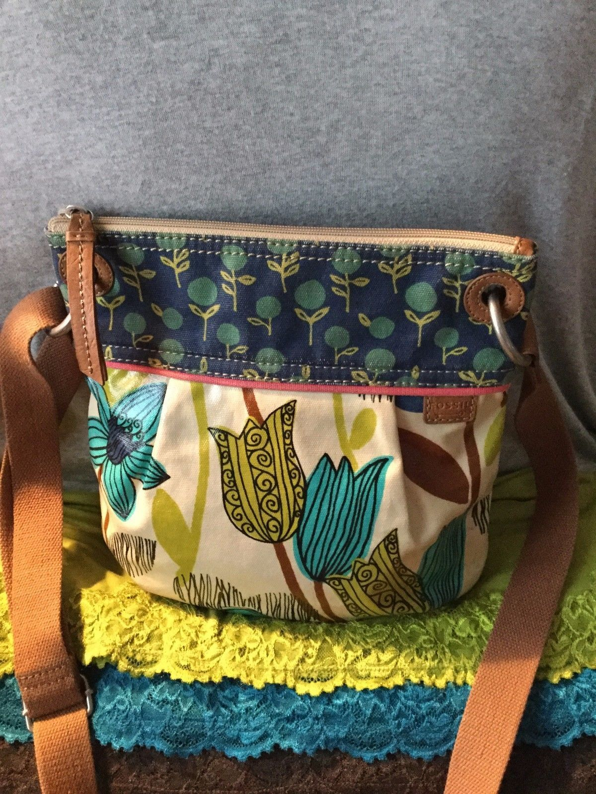 Fossil Keyper Xbody Black White Daftar Harga Terkini Dan Termurah Cross Body Calypso Blue Multi Floral Coated Canvas Shoulder Bag Zip X Just 78 Freeship