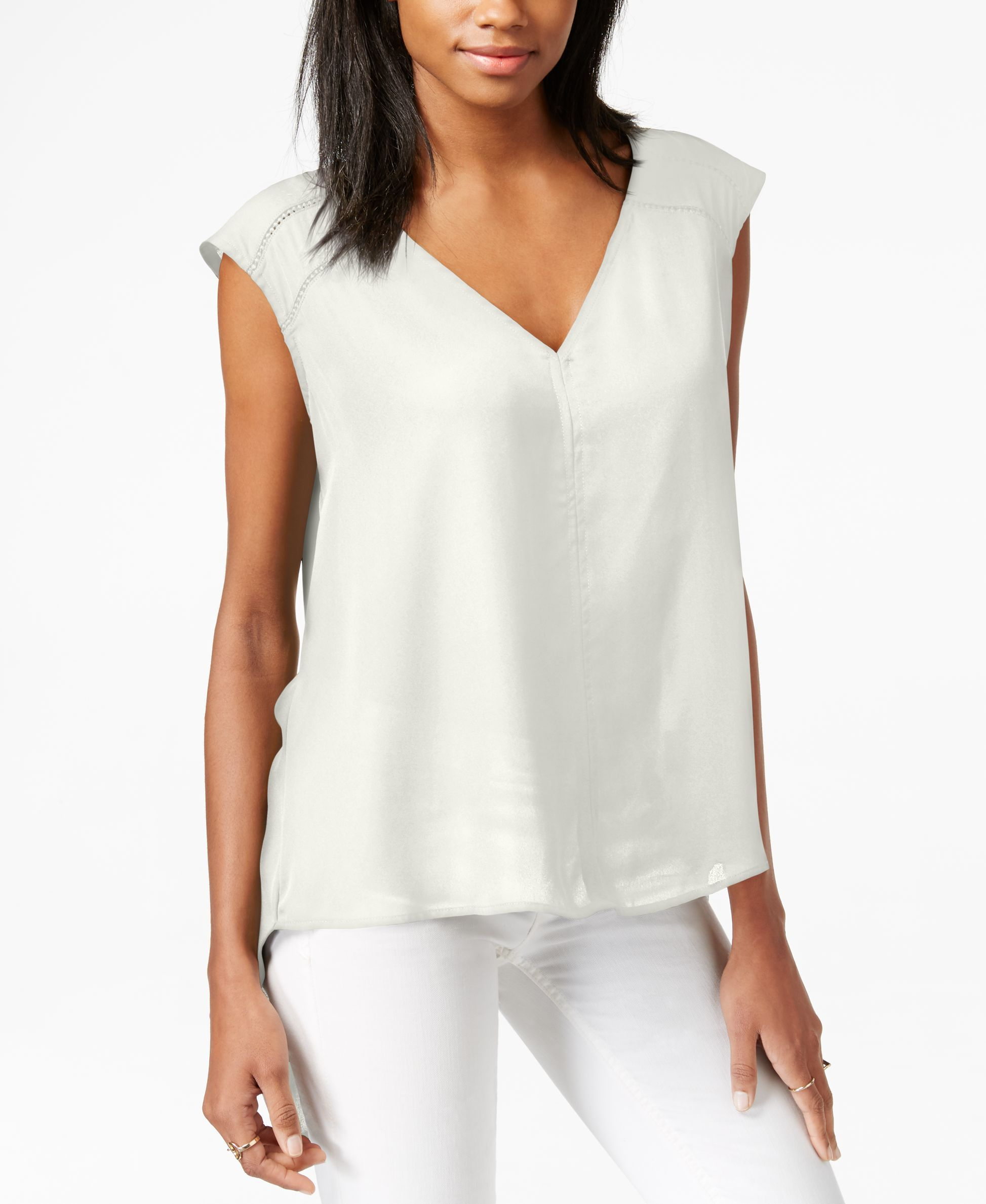 Bar Iii Cap-Sleeve V-Neck Top, Only at Macy's